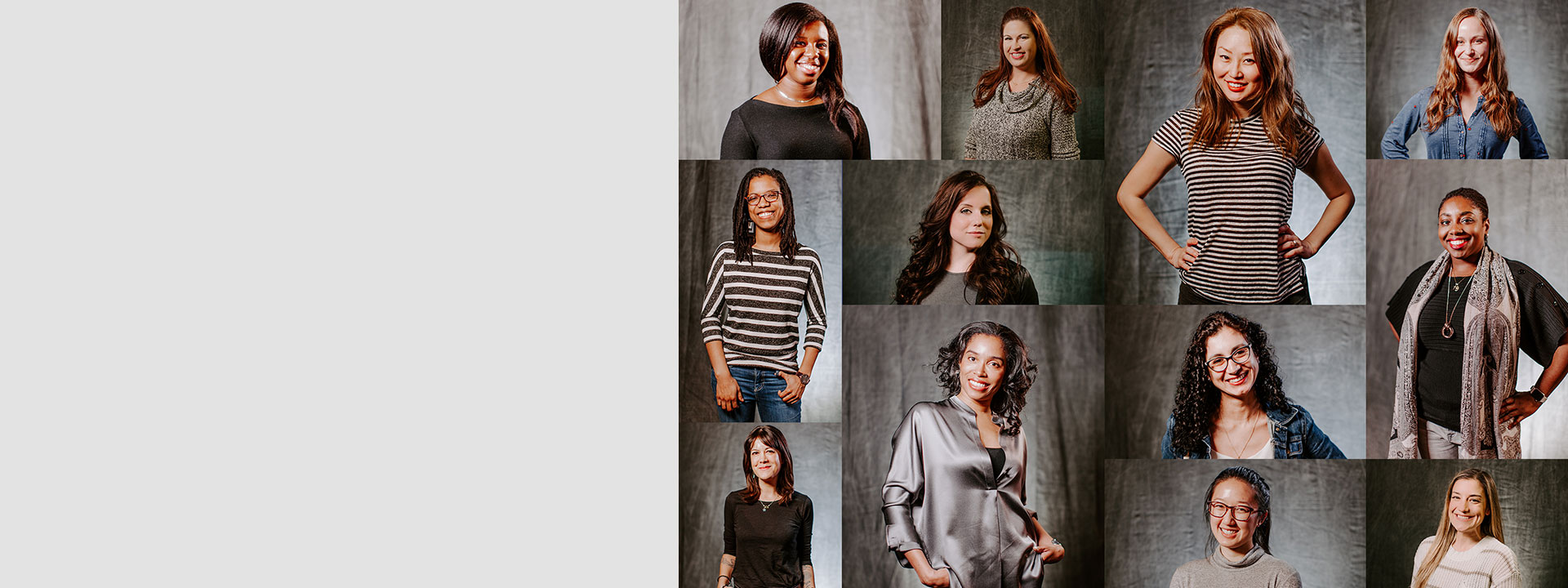 Mosaic of individual portraits of women who work at Xbox