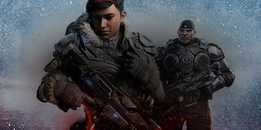 Gears 5, Kait Diaz and Marcus Fenix carry large weapons in an icy scene