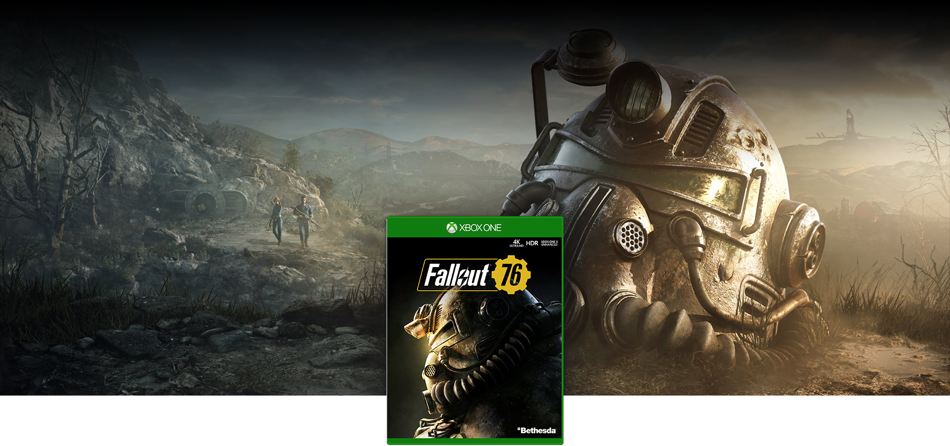Fallout 76 boxshot, Power Armor mask sits on the ground as two people emerge from Vault 76