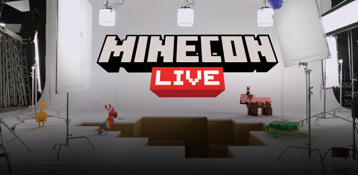 The MINECON Live logo set above a lighting stage with a large Minecraft-style hole in the middle that is surrounded by various Minecraft animals.