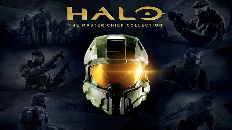 Halo, The Master Chief Collection, Front view of Master Chief's helmet with prior Halo game art in the background