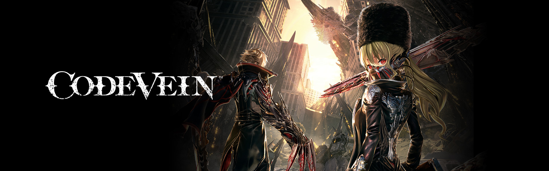 Code vein characters look back before walking through city wreckage