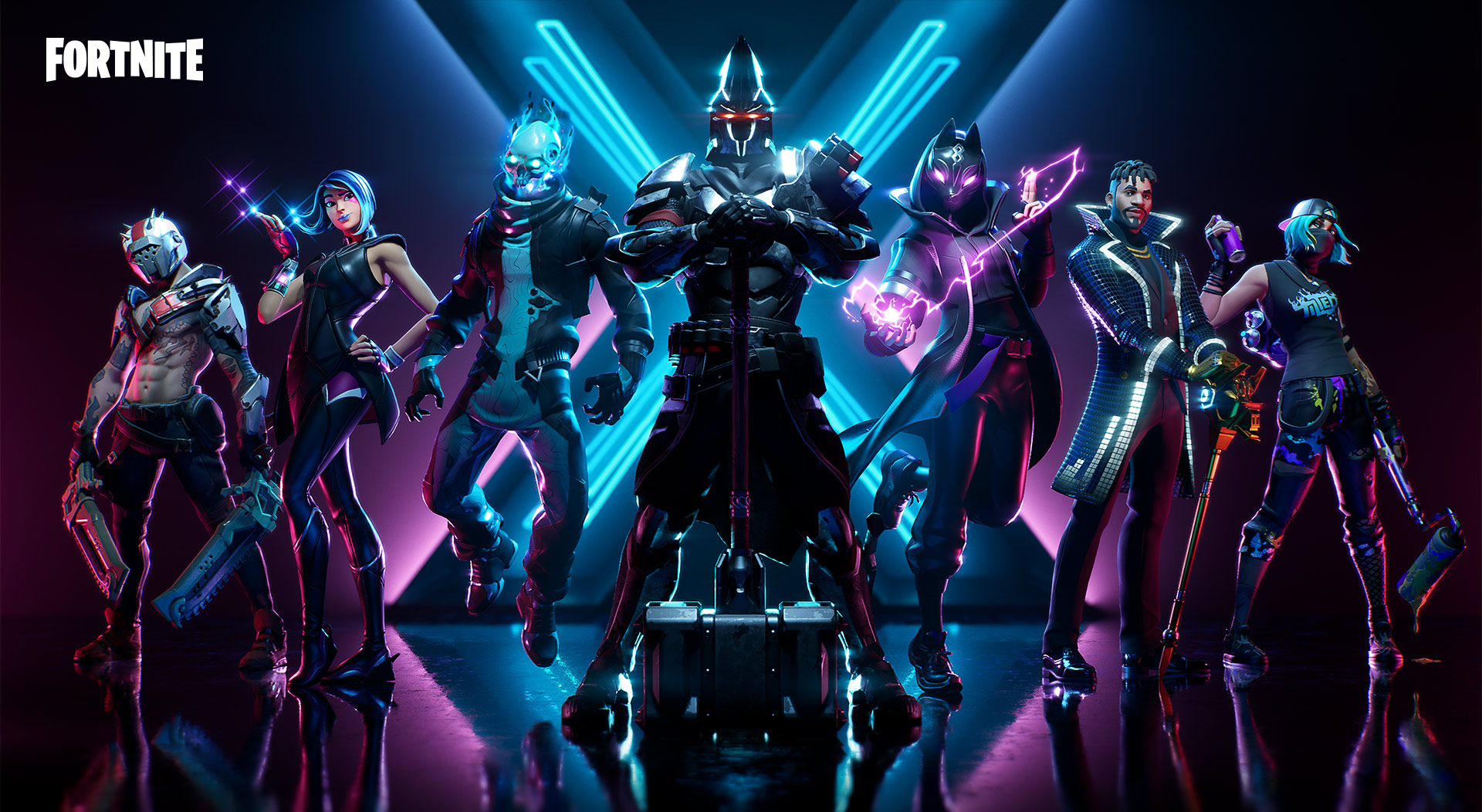 Front view of seven Fortnite characters posing