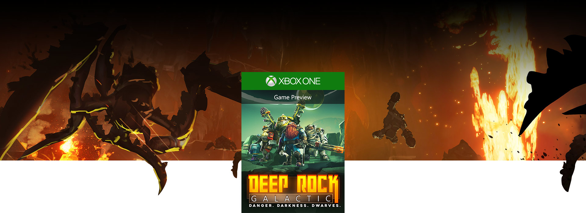 Deep Rock Galactic boxshot, multiple alien creatures falling in a lava pit