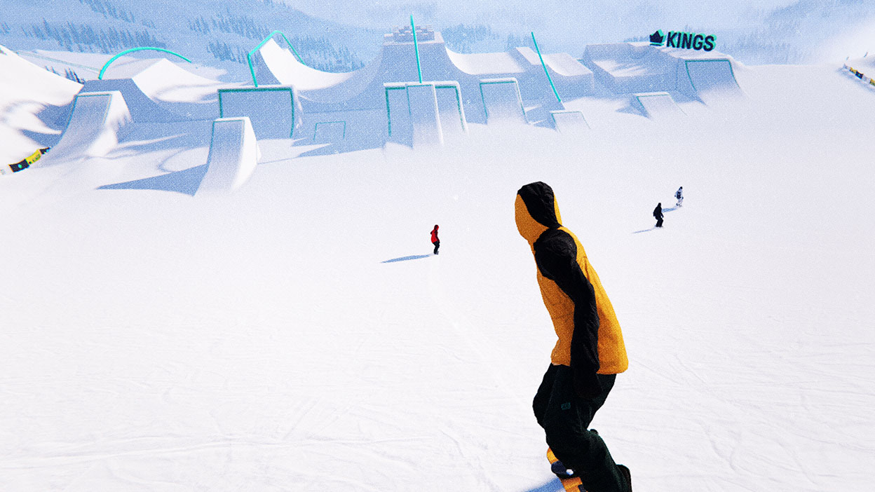 Four snowboarders head towards a huge park covered in jumps.