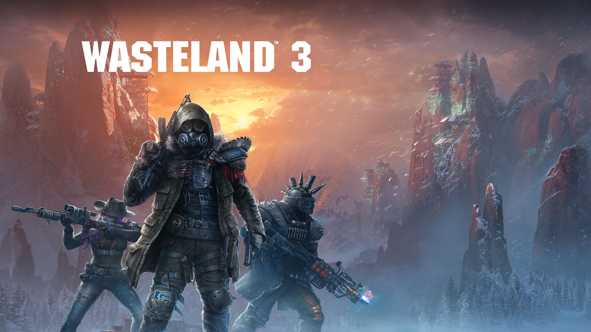 Wasteland 3, 3 heavily armed characters in a snowstorm wearing gas masks