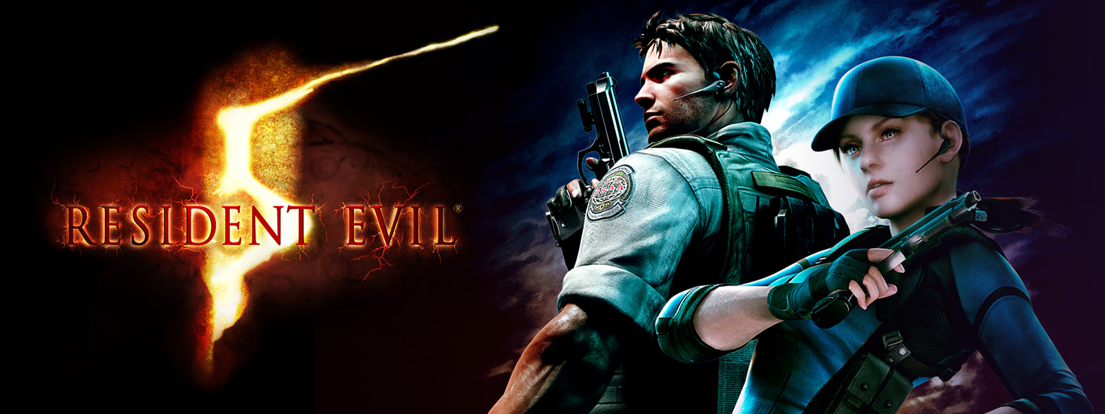Resident Evil 5, characters holding pistols with dark cloudy sky in background