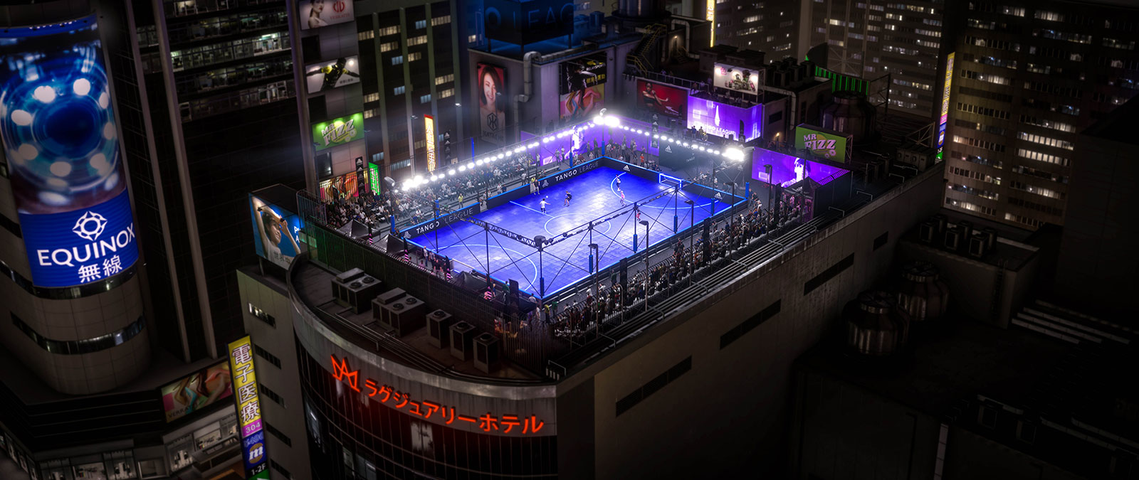 People playing street soccer on a rooftop cage in Tokyo