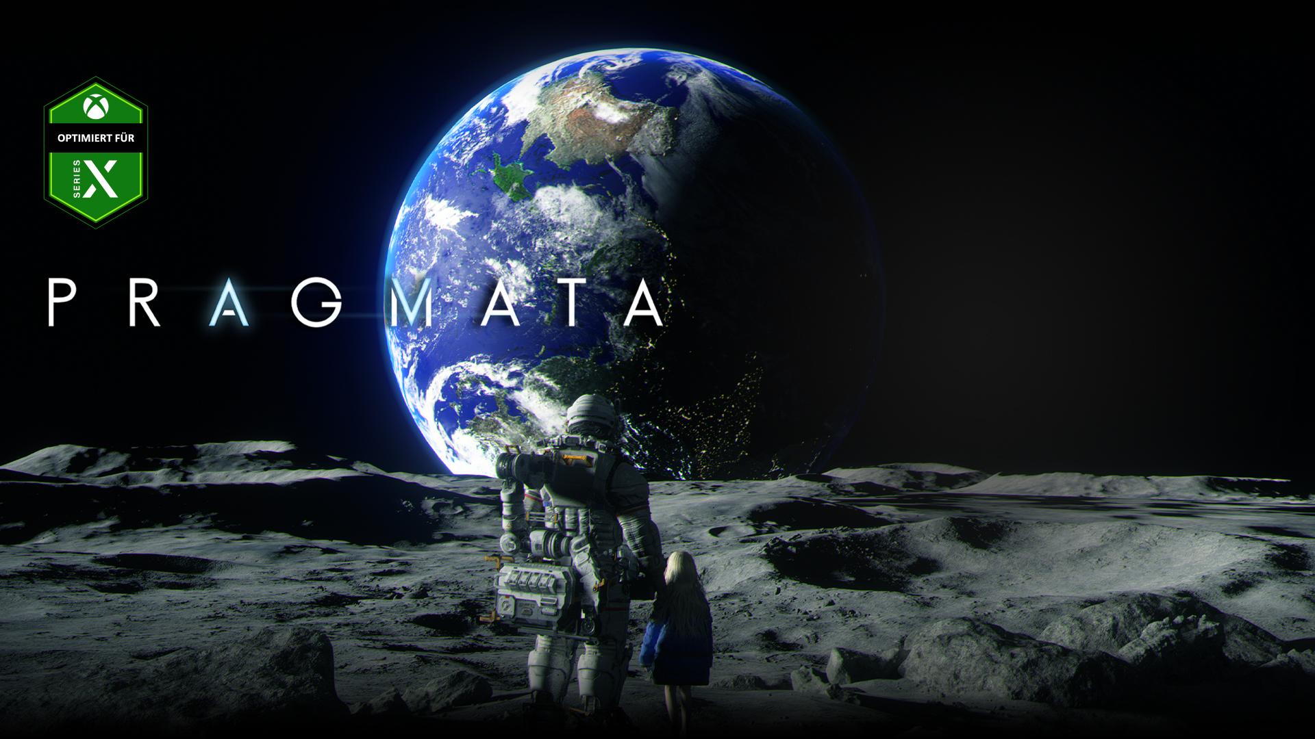 Optimiert für Xbox Series X-Logo, Pragmata, ein Astronaut und ein junges Mädchen stehen zusammen auf dem Mond und betrachten die Erde