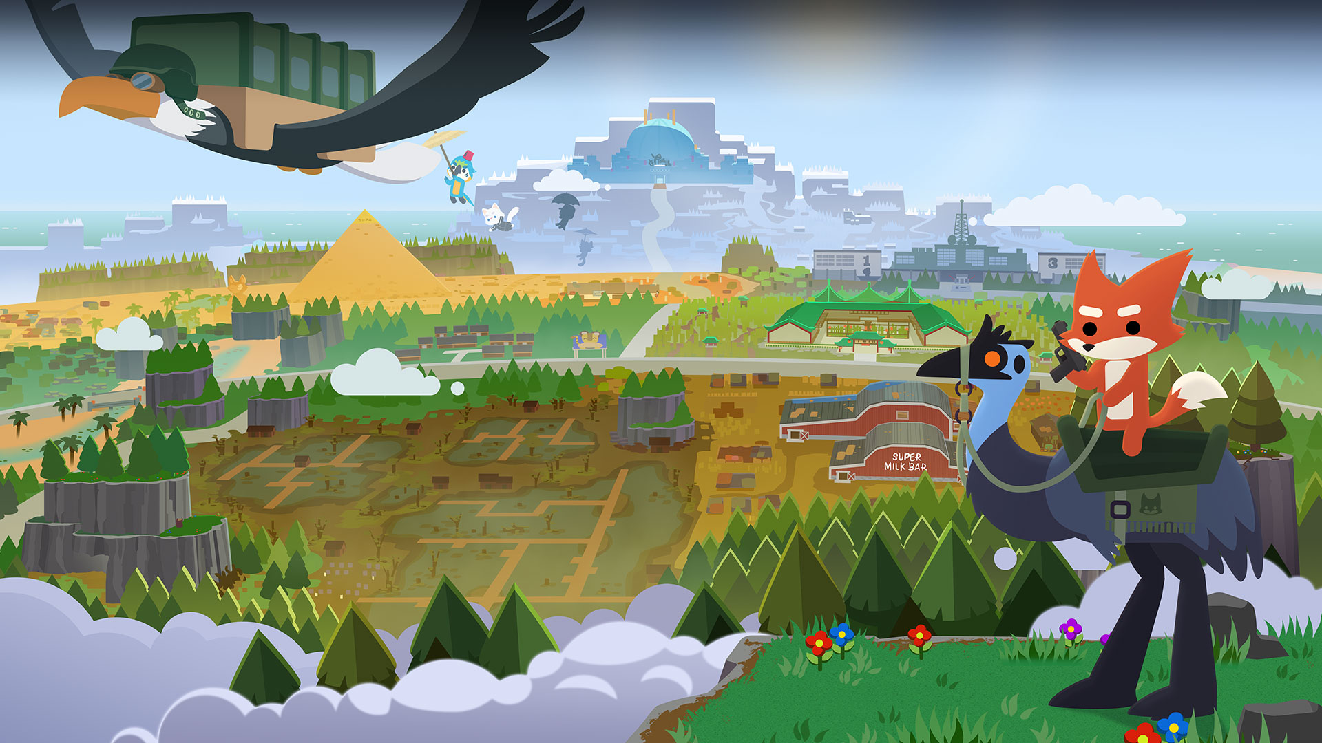Super Animal Royale; Savaş alanını tarayan robotik Emu'ya binmiş tabancalı bir tilki.
