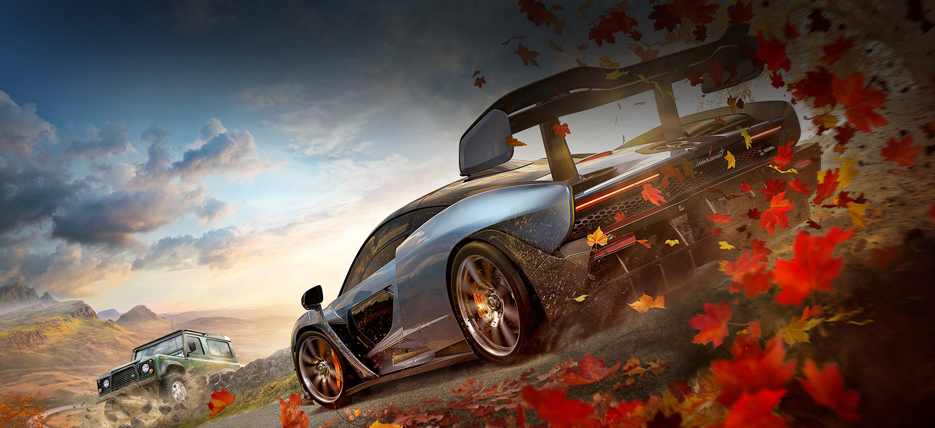 Forza Horizon 4 with McLaren driving though red and yellow leaves