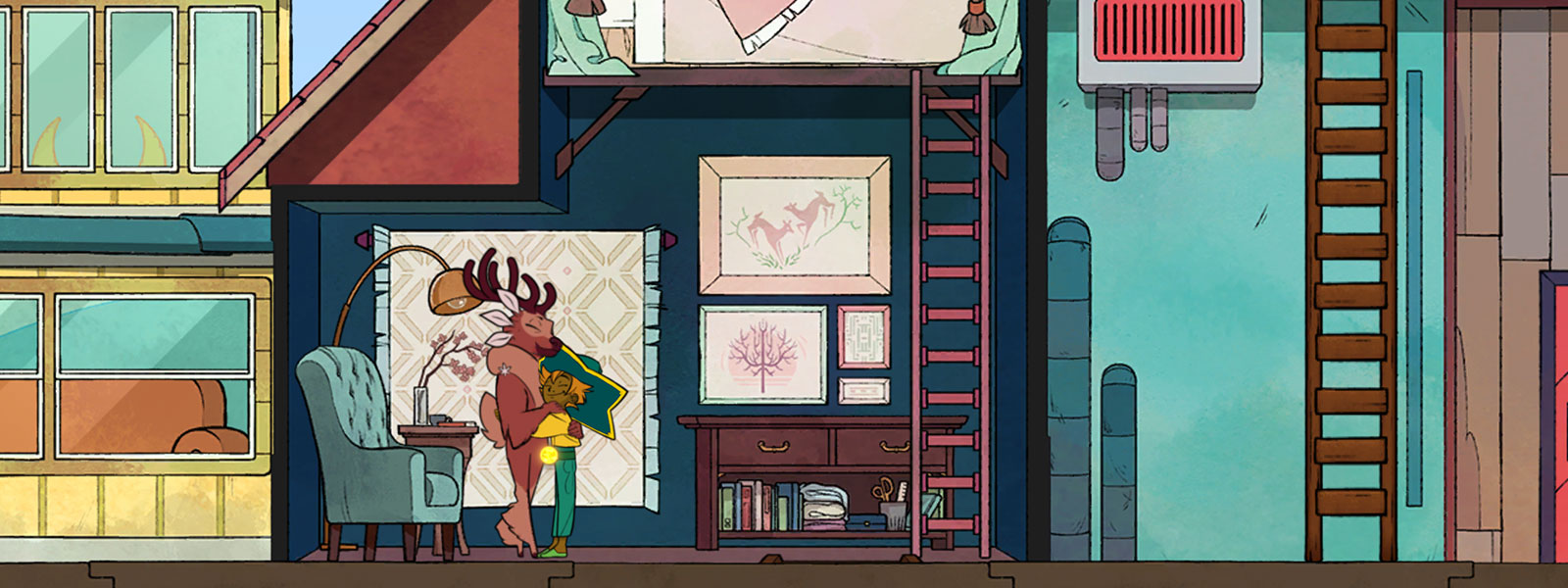 Two characters hugging in a reading room within a larger house