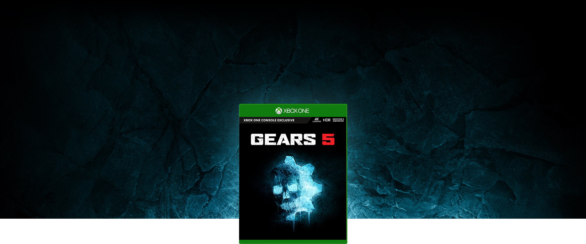 Gears 5 game box on a glowing blue stone background