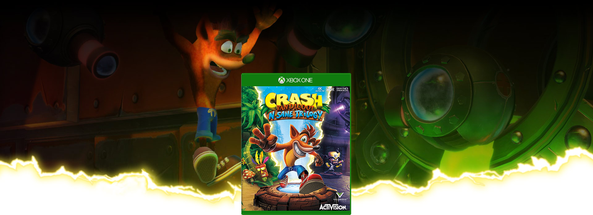 Crash Bandicoot insane trilogy boxshot with lightning streaks shooting from the box, In the background Crash jumps above green ooze