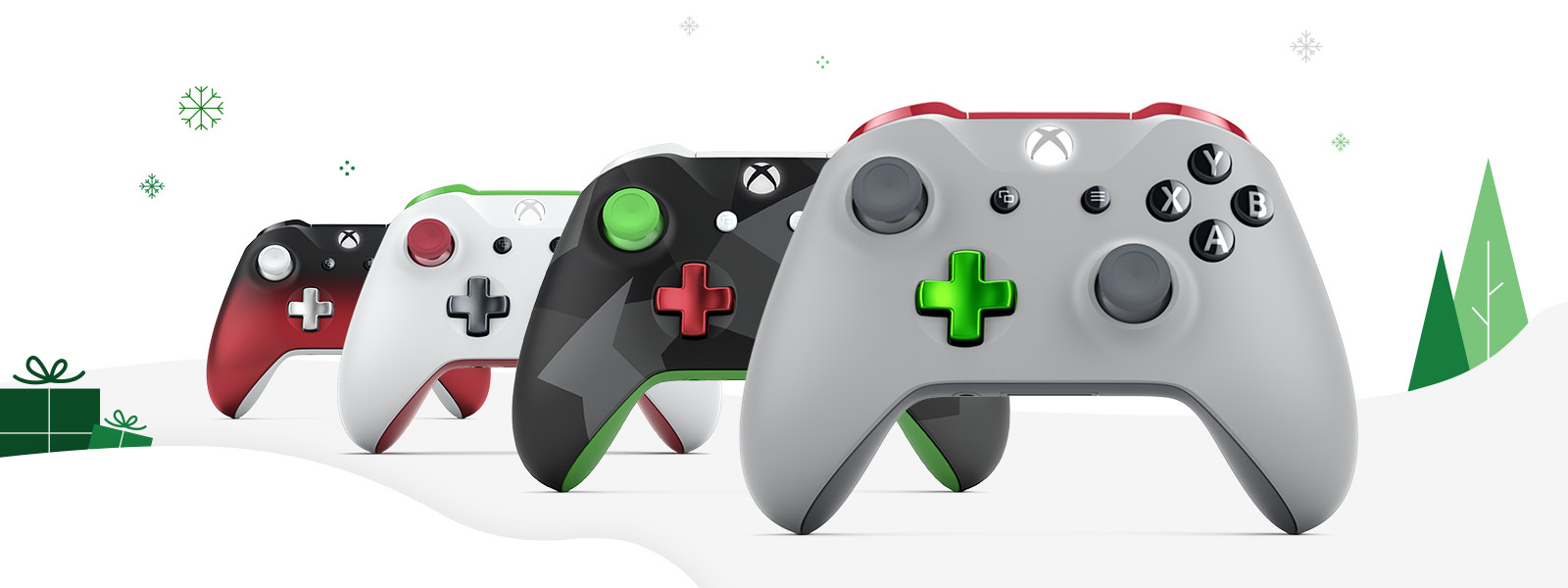 An array of different Xbox Design Lab controllers
