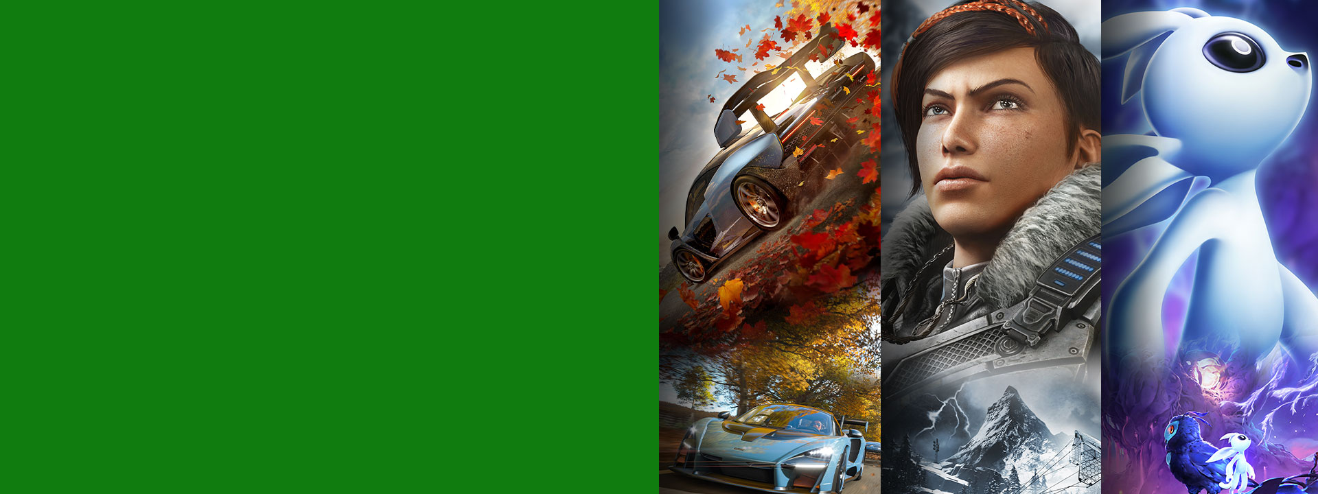Game art from multiple games available with Xbox Game Pass including Forza Horizon 4, Gears 5, and Ori and the Will of the Wisps.