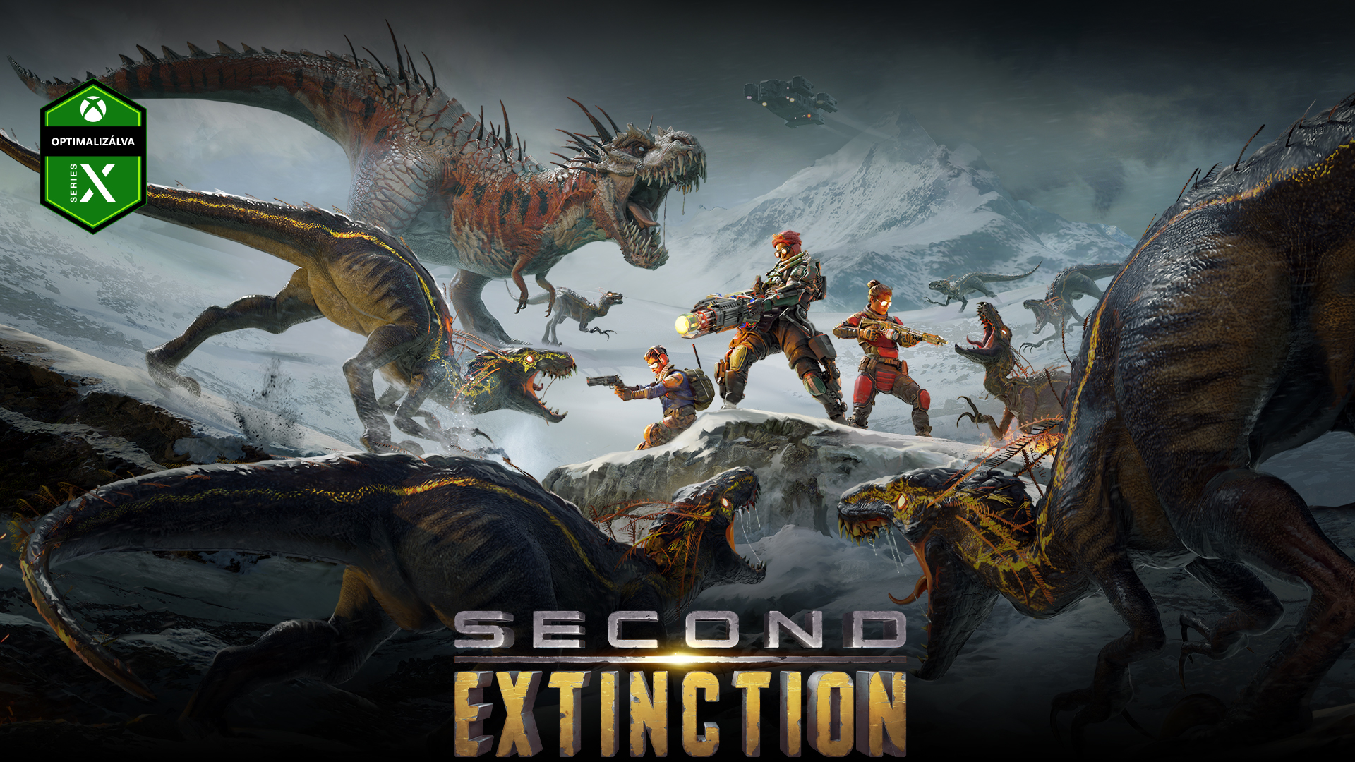 Second Extinction, Series X konzolra optimalizálva, karakterek csoportja küzd meg a dinoszauruszok csoportjával.