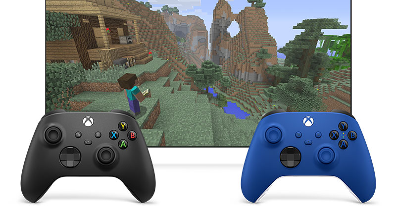 Two controllers linked together with co-pilot to play Minecraft