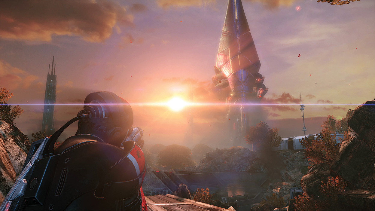 Shepard aims a weapon at a Reaper in the distance