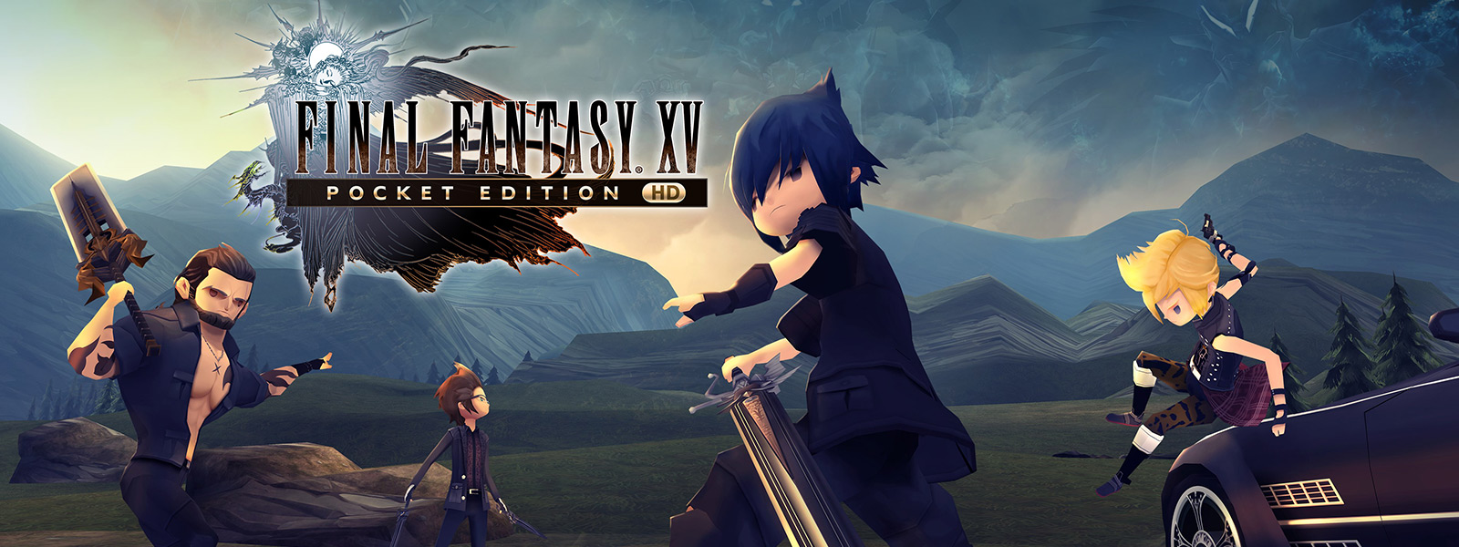 FINAL FANTASY XV POCKET EDITION 中的 Gladio、Noctis、Prompto 和 Ignis 準備打鬥
