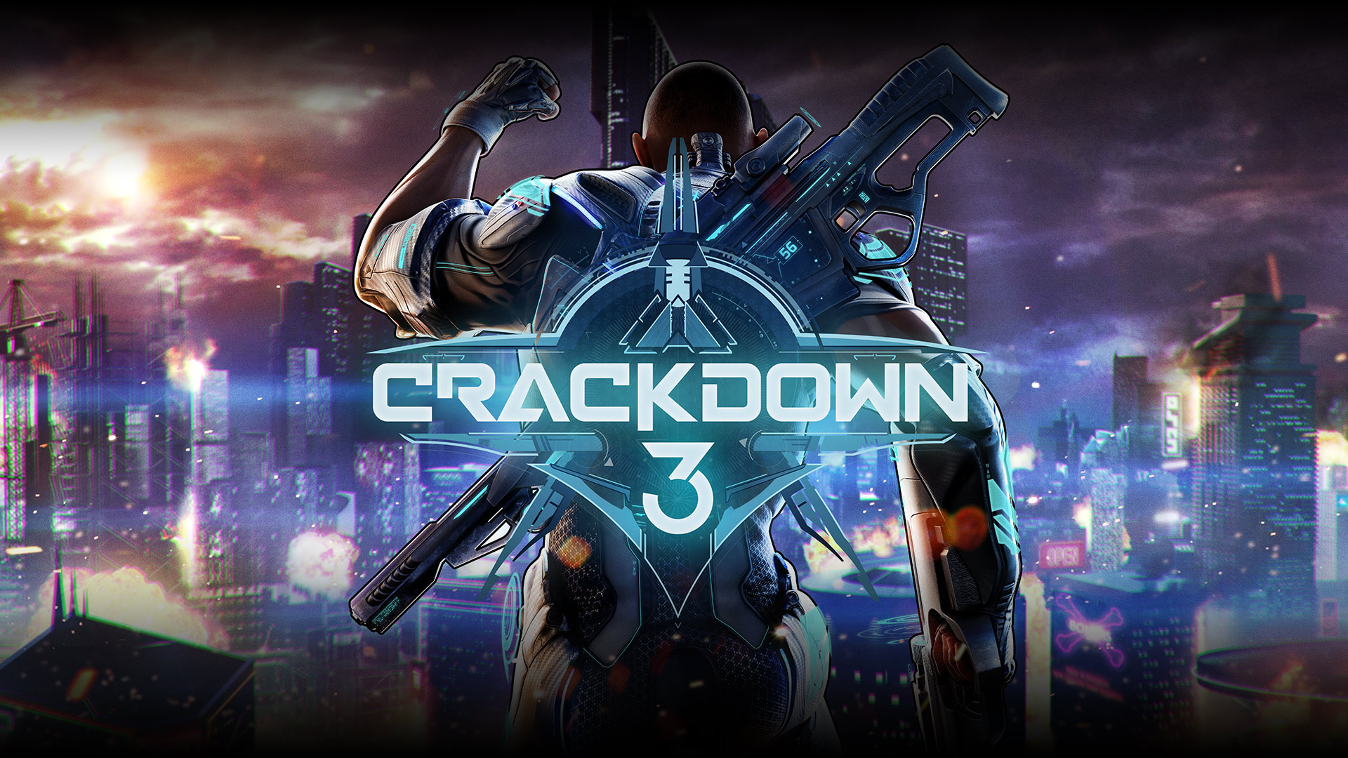 Crackdown 3 – Hero image, rear view of Commander Jaxon raising his fist over a city scene.