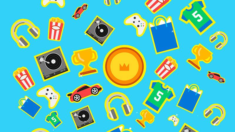 Une mosaïque de plusieurs objets illustrés, notamment des trophées, des pièces de monnaie et des manettes Xbox représentant Microsoft Rewards.