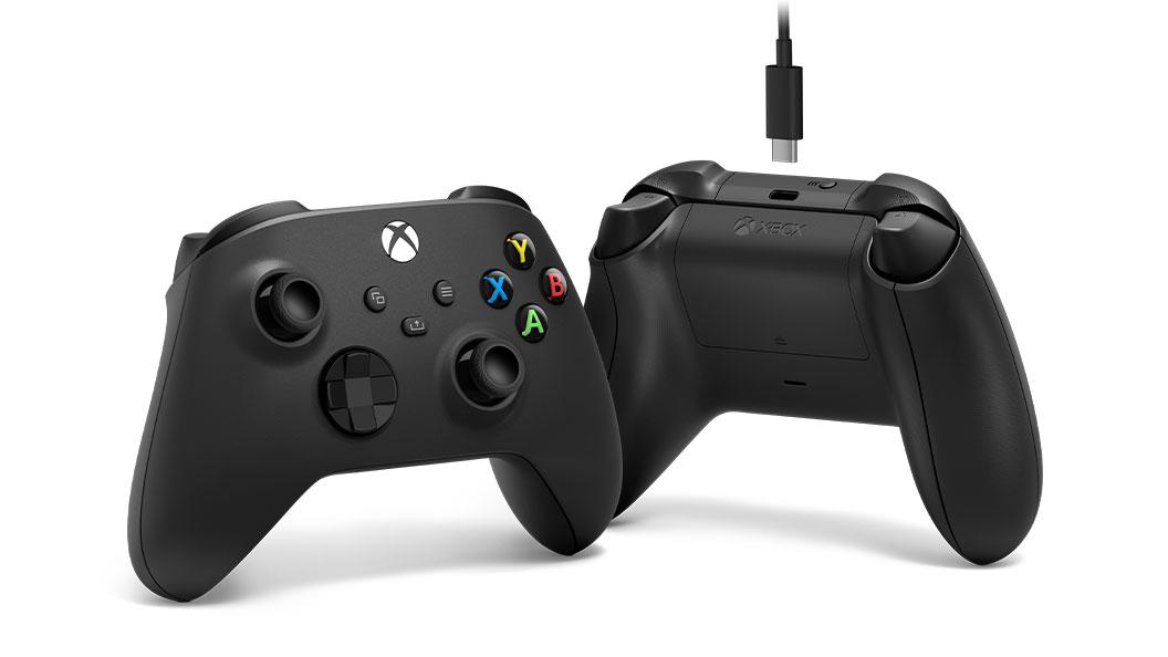 Ángulo izquierdo y vista trasera del Control inalámbrico Xbox + cable USB-C®