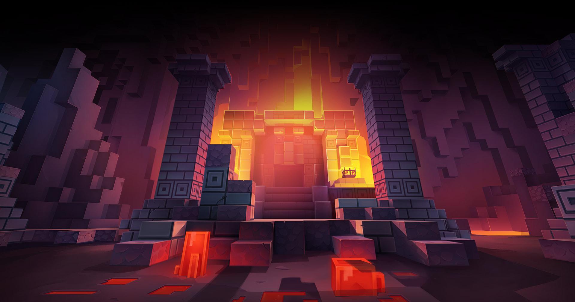 Minecraft Dungeons. Вход в подземелье искателю приключений указывают маяки красного и оранжевого цвета.