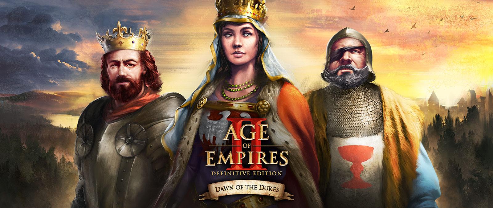 Age of Empires II: Definitive Edition. Dawn of the Dukes. Tre karakterer poserer.