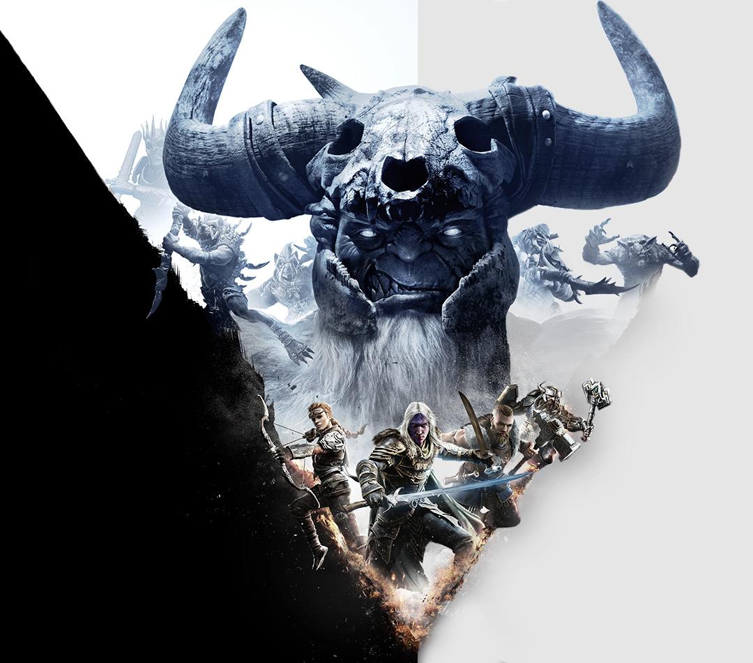 Dungeons & Dragons: Dark Alliance, Een bewapende rogue, ranger, fighter en barbarian met vorstreuzen boven hen.