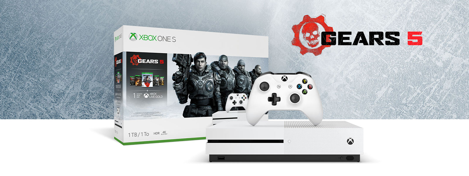 Xbox One S Gears 5 bundle in front of ice texture