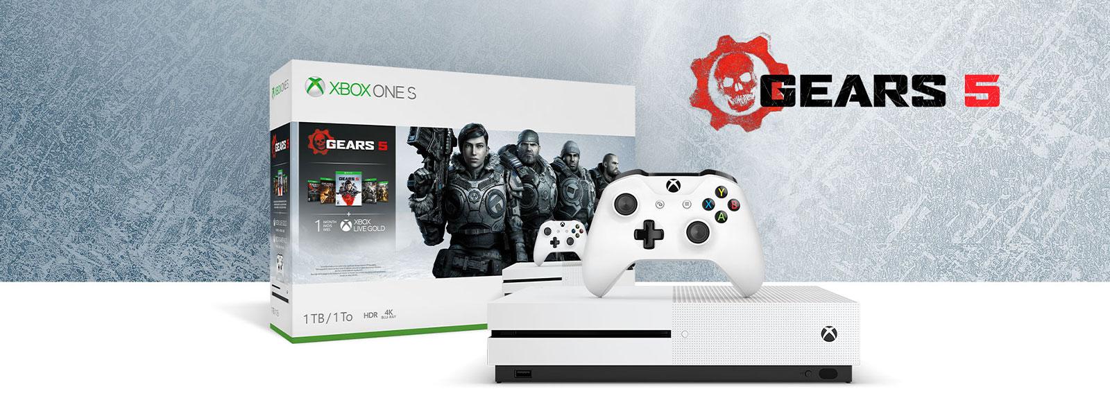 Xbox One S Gears 5 -konsolipaketti jäätekstuurin edessä