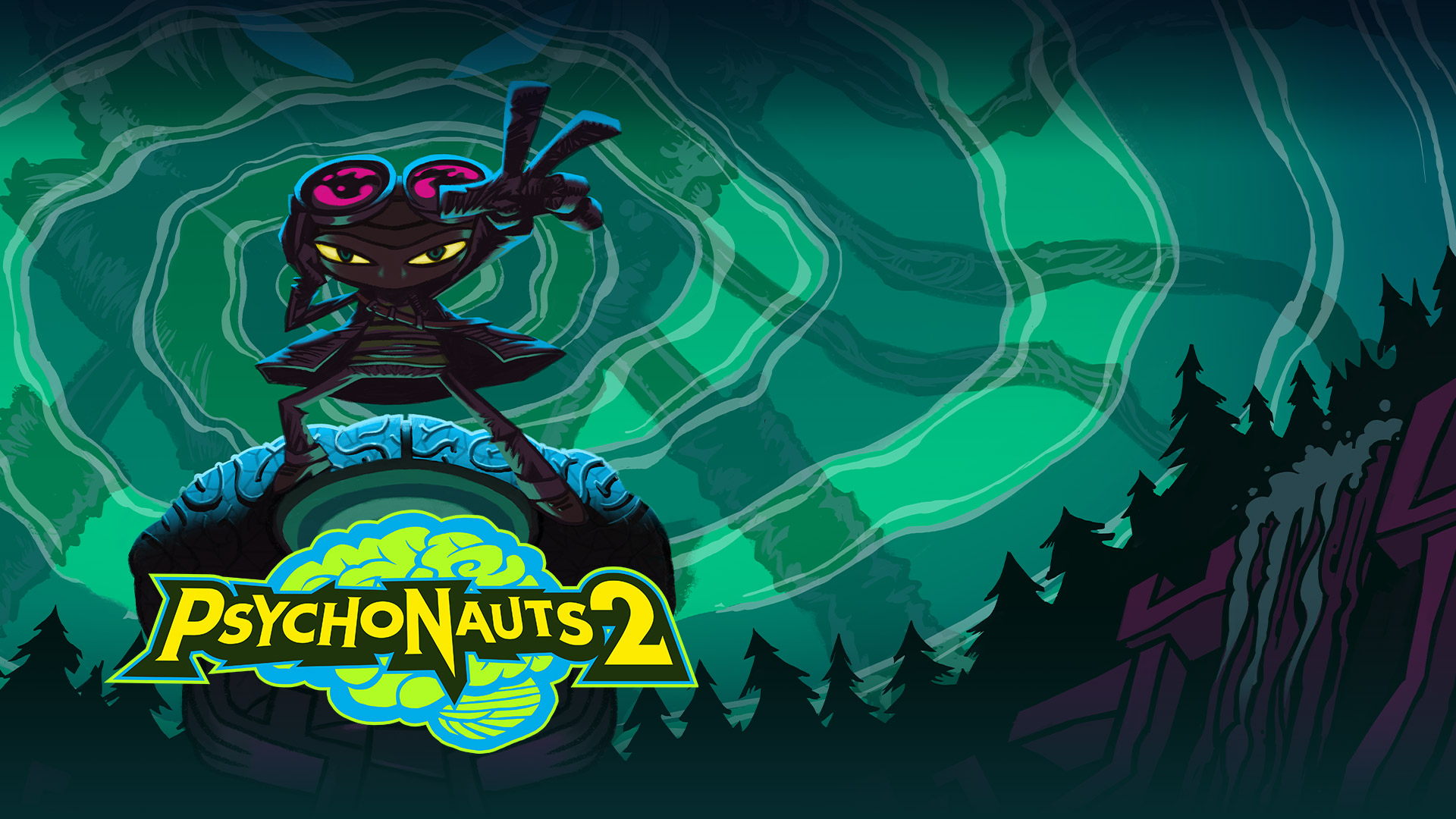 Psychonauts 2, Ο Raz στέκεται με το χέρι απλωμένο μπροστά σε ένα σκοτεινό δάσος και έναν πράσινο ουρανό