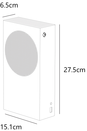 A diagram of the Xbox Series S showing the dimensions of the Xbox Series S: Height is 27.5 centimetres, width is 15.1 centimetres, and depth is 6.5 centimetres