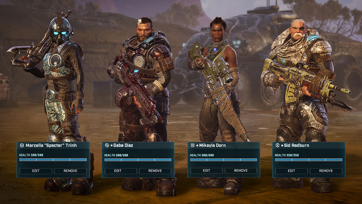 In game screenshot of four characters, Specter, Gabe Diaz, Mikayla Dorn, Sid Redburn in armor carrying guns with a large vehicle in the back.