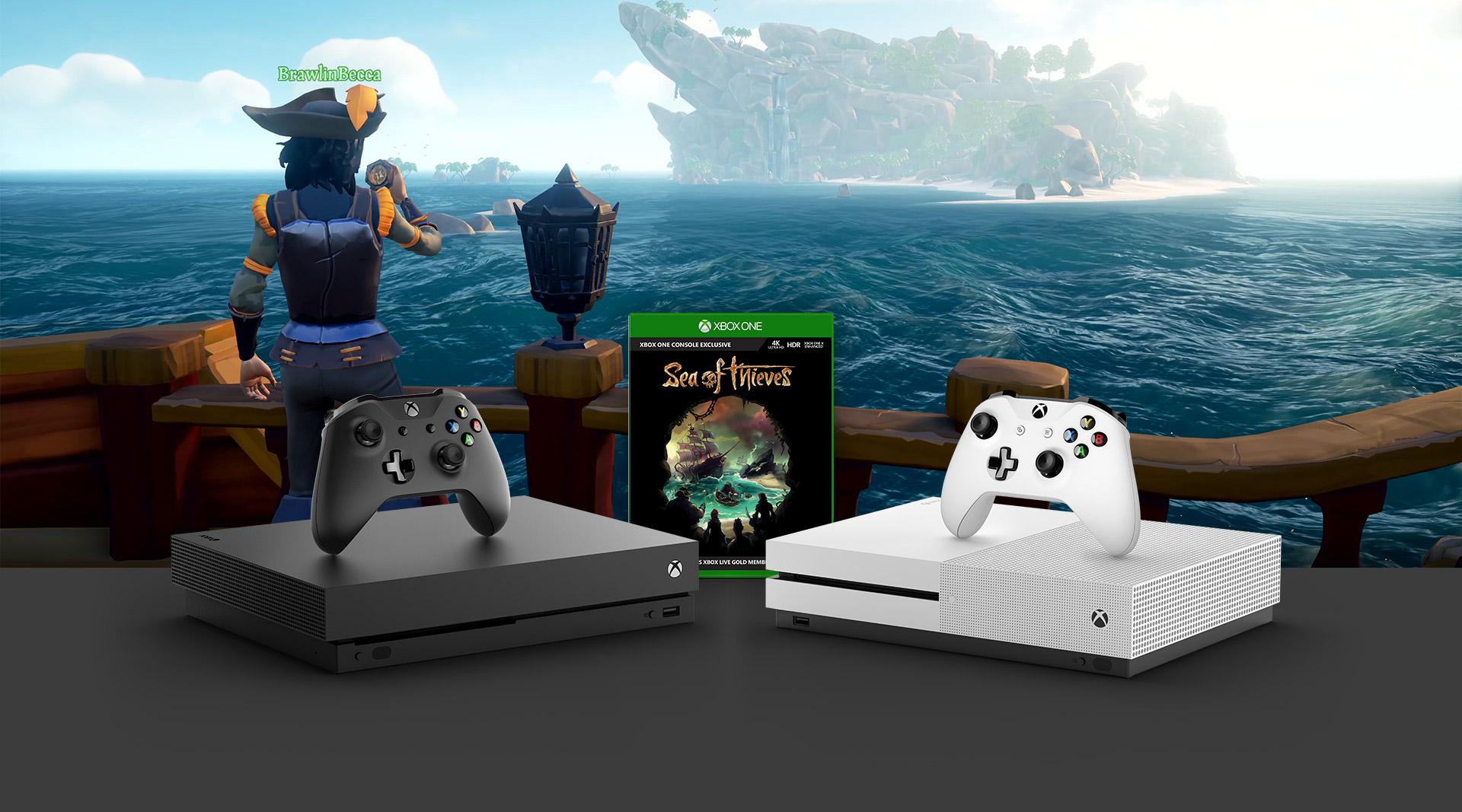 En pirat på ett skepp som tittar mot en ö med en Xbox One X-konsol i förgrunden