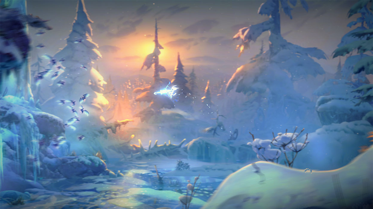 Ori fires a glowing arrow over a snowy pond