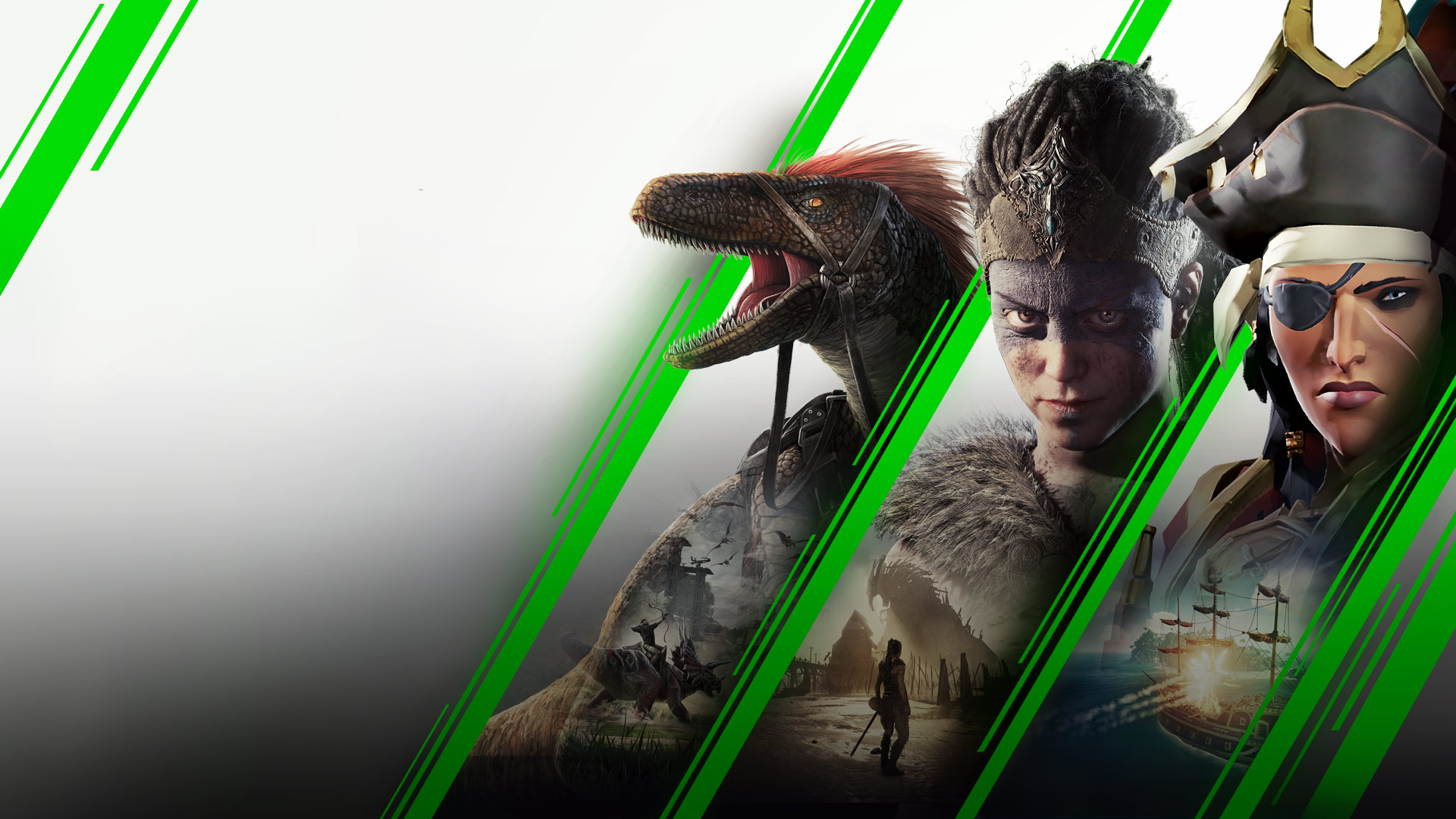 Stylised green diagonal lines separating a raptor from ARK: Survival Evolved, Senua from Hellblade: Senua's Sacrifice, and a female pirate from Sea of Thieves.