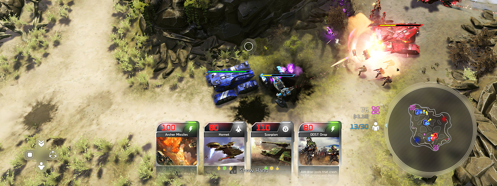 top view of Halo Wars 2 battle scene with 4 player cards showing