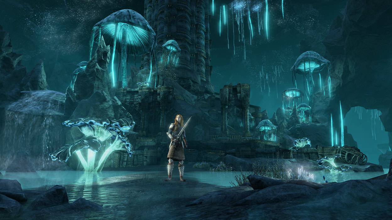 Character with a sword standing by mushrooms and old ruins that are glowing blue