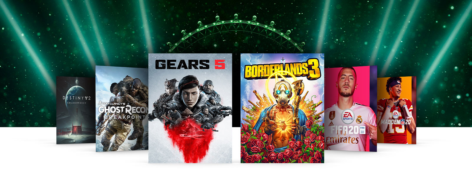 Box art of Xbox One titles on sale float in front of the London Eye, glowing in Xbox green. Destiny 2 Shadowkeep, Ghost Recon Breakpoint, Gears 5, Borderlands 3, FIFA 20, and Madden NFL 20.