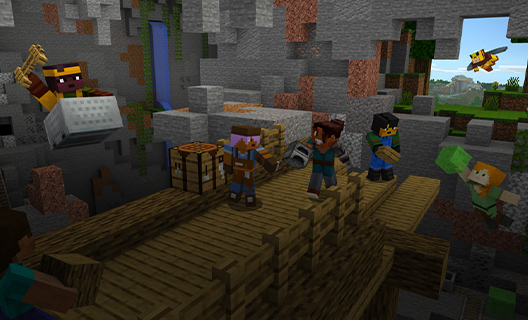 Characters from Minecraft supporting each other while doing tasks.