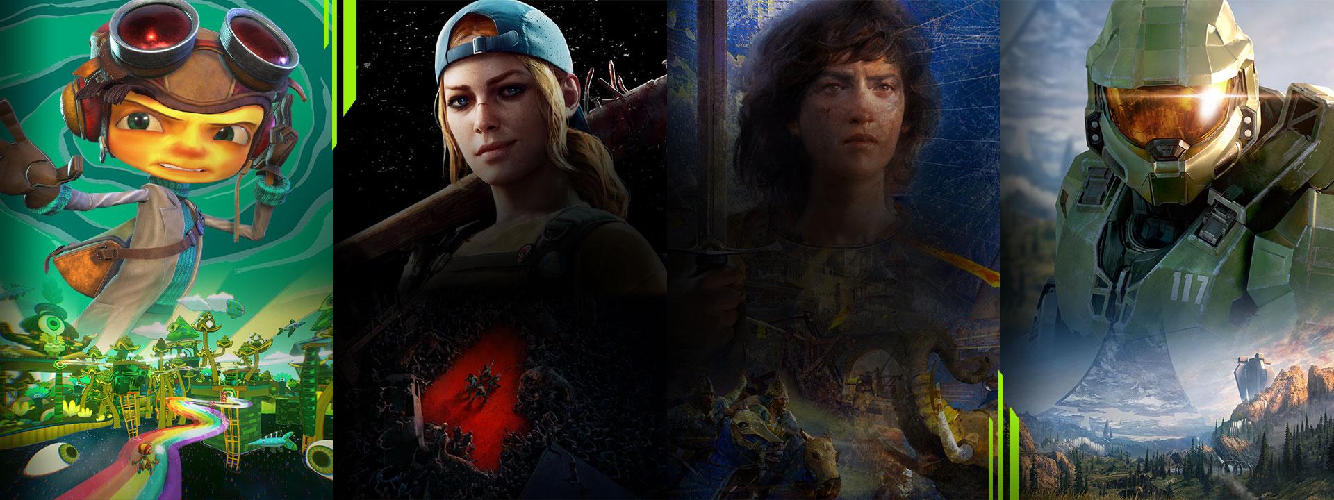 可透過 Xbox Game Pass 遊玩的一系列遊戲,包括 Psychonauts 2、Back 4 Blood、Age of Empires 4 和 Halo Infinite。