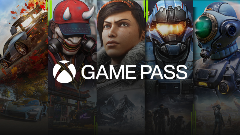 The Xbox Game Pass logo over a lockup of games available with the service: Forza Horizon 4, Bleeding Edge, Gears 5, Halo Reach, and The Outer Worlds.