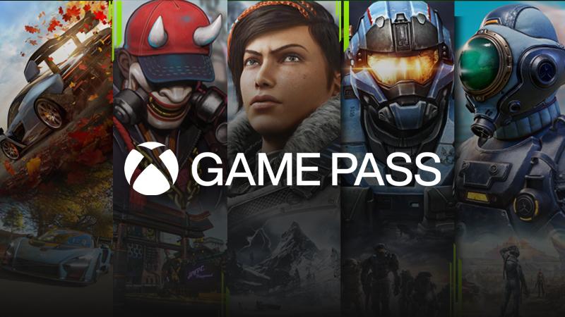Das Xbox Game Pass-Logo über einer Reihe von Spielen, die mit dem Dienst verfügbar sind: Forza Horizon 4, Bleeding Edge, Gears 5, Halo Reach und The Outer Worlds.