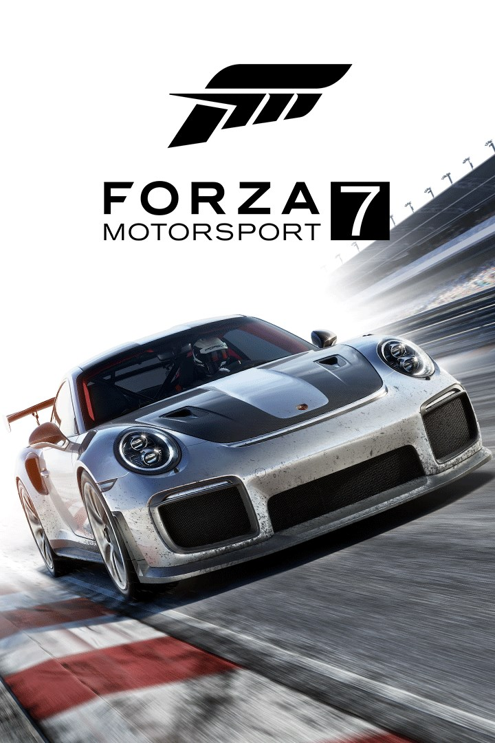 A packshot of Forza Motorsport 7 above text,