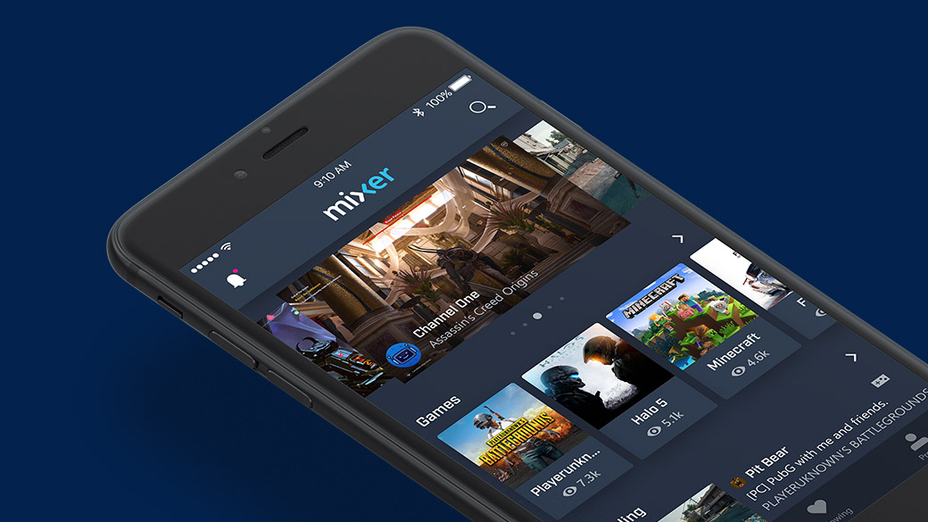 iPhone con la app Mixer abierta