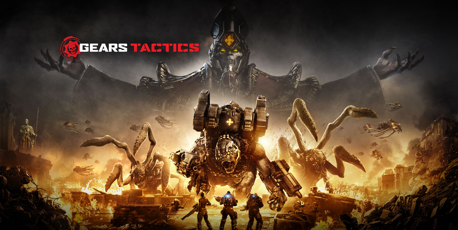 Gears Tactics Logo, scene of three characters going about to fight several large monsters while the area around them is on fire