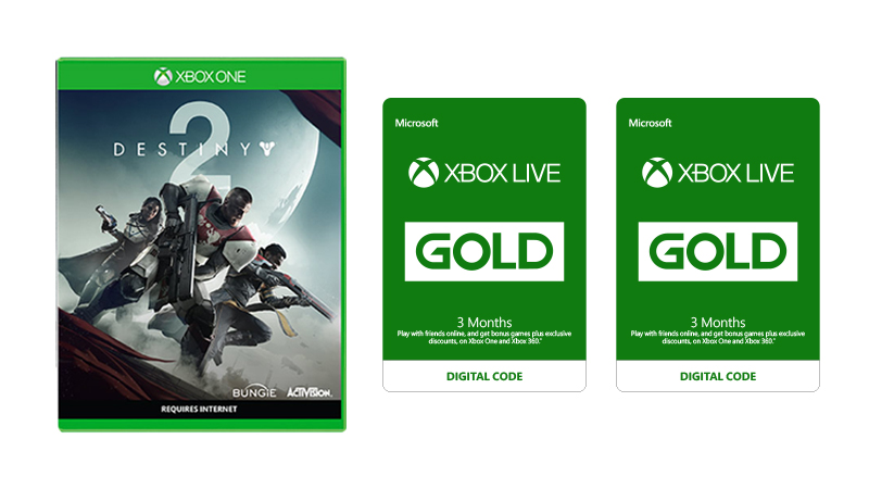 Buy two 3-month Xbox Live subscriptions at half price with Destiny 2.