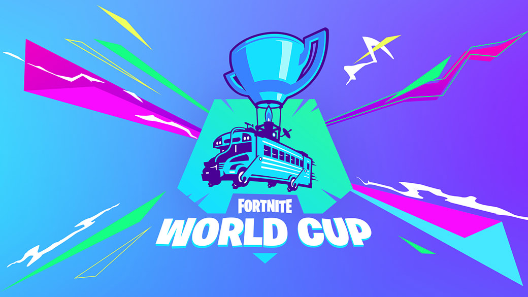 The Fornite World Cup logo showing a school bus powered by a trophy-shaped hot air balloon